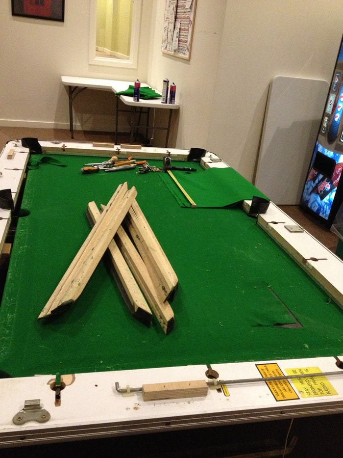 Table Trim Being Glued Pool Table Recovering Mid Process ...